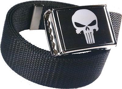Punisher Black White Belt Buckle Bottle Opener Adjustable Web -