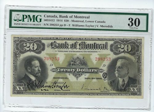 1914 $20 BANK OF MONTREAL CHARTERED BANKNOTE PMG VF 30 Realy Nice Note