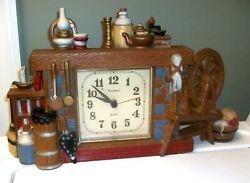 Vintage 1982 New Haven Quartz Burwood Wall Clock Fireplace Churn Broom Wheel USA