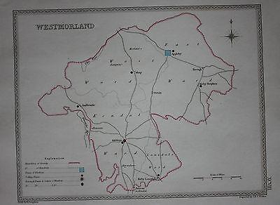 Original antique map WESTMORLAND POLITICAL Samuel Lewis, J&C Walker, c.1835