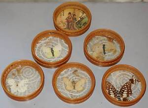 Vintage Retro Cane Bamboo & Glass Coasters South Windsor Hawkesbury Area Preview