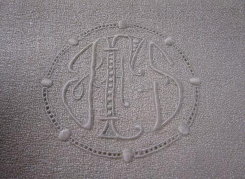 Antique Silky Linen Crepe Towel Ornamental JFS Monogram Hand Hemmed BEST Quality
