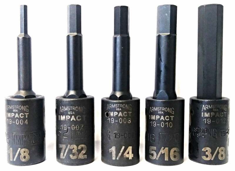 """Armstrong 19-004 - 19-012 5 Piece 3/8"""" Drive SAE Impact Socket Hex Bits USA"""