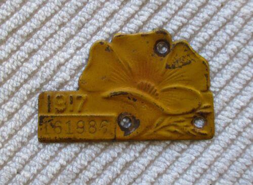 "1917 California License Plate ""Poppy"" Year Tab"
