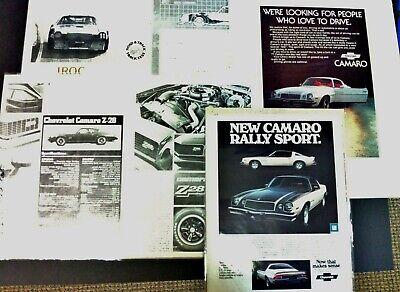 1977 Chevrolet Camaro IROC  Z-28 Dealers Booklet 6 pc lot road test car ad 1978