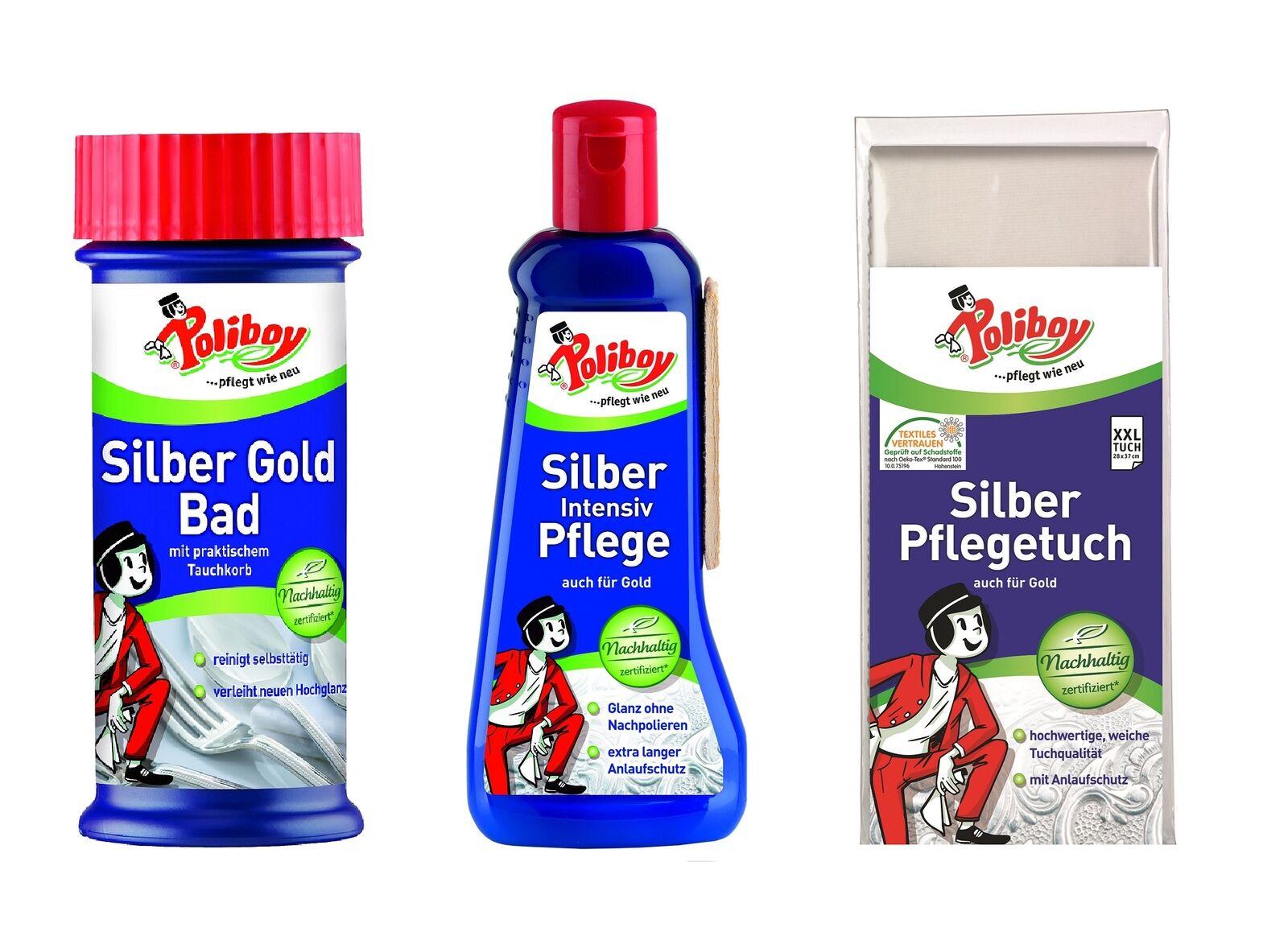 Poliboy - Intensiv Silberpflege Gold Tauchbad Silberputztuch  - Schmuckreiniger