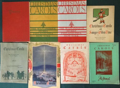 8 Vintage Vanamaker Christmas Carol Music Booklets 1923-1941 Books Songs Carols