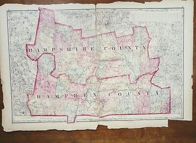 "Vtg. Walling & Grays 1871 Hampshire Co./Hampden Co, Ma. Atlas Map 17""x26"""