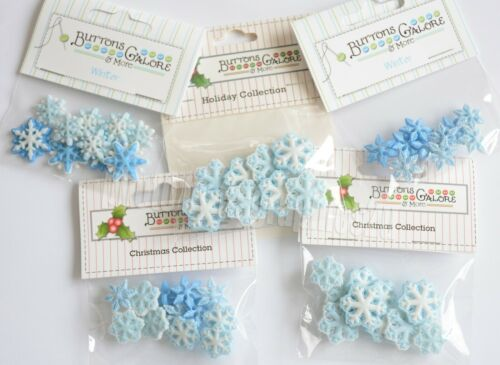 Winter Snowflake Buttons / Buttons Galore Holiday Collection / White & Blue