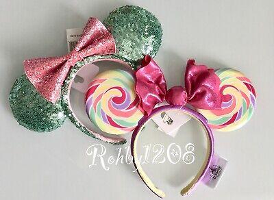 Disney Parks Mint Green Pink Swirl Lollipop Minnie Ears Headband](Pink And Green Lollipops)