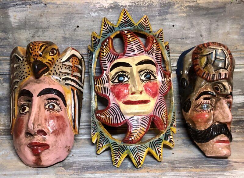 "VTG '70s Polychrome Mascara ""Eagle Turtle Sun"" Wood Mask Folk Art GUERRERO Lot 3"