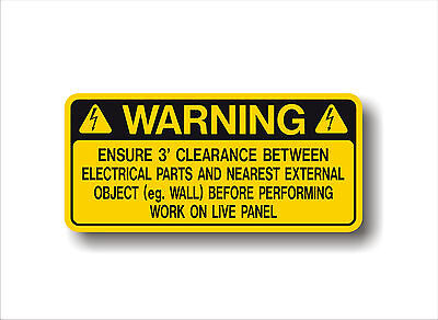 Electrical Safety decal WARNING LIVE PANEL -  imperial 3' CLEARANCE sticker