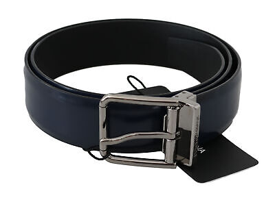 DOLCE & GABBANA Belt Blue Leather Polished Silver Buckle s. 85cm / 34in $420