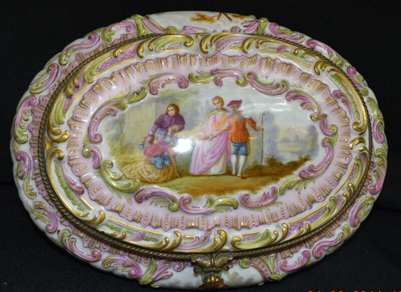 Antique Dresden Porcelain Box with Bronze Mounts