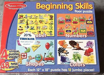 Used, Melissa & Doug floor puzzles set of 4 Beginning Skills abc numbers shapes colors for sale  Pearisburg