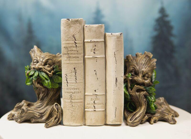 Celtic Wicca Forest God Tree Spirit Greenman Decorative Bookends Figurine Set