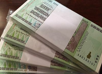 ZIMBABWE 50 TRILLION ZIM DOLLARS 2008 AA P90 UNC 100 NOTES UV INSPECTED WITH COA