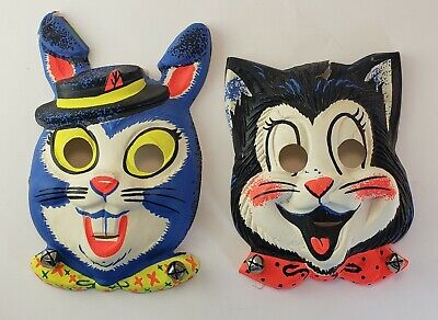 Vintage Collegeville Halloween Masks Cat Kitty Bunny Rabbit Bells Decorations