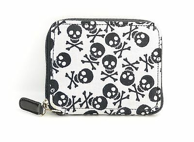 Happy Skull Print Fabric Over Synthetic Leather Wallet Punk Goth Rockabilly USA - Fabric Over Leather