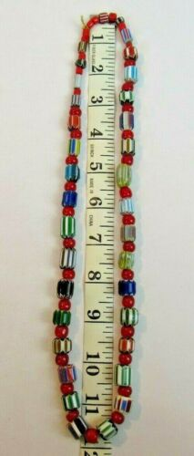 Vintage Chevron Trade Beads 24in Necklace