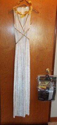 SPIRIT GREEK GODDESS COSTUME BY SPIRIT. LONG WHITE & GOLD DRESS & HAIR PIECE. LG - White Greek Goddess Costume