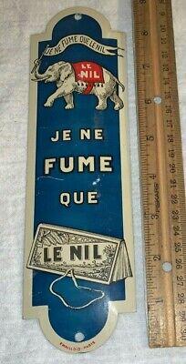 ANTIQUE LE NIL TIN LITHO DOOR PUSH SIGN PARIS ELEPHANT TOBACCO ROLLING PAPERS