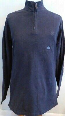 CHAPS Black Half-Zip Sweat Shirt w/Elbow Pads Soft Velour Feel 100% Cotton  H-97 Cotton Half Zip Sweatshirt