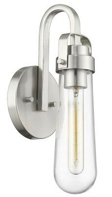Brushed Nickel Simple 1-Light Wall Sconce Glass Mid Century Modern Hall Bath NEW