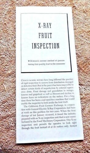 GOLDEN GATE INT EXPOSITION 1939 X RAY FRUIT INSPECTION BY CA FRUIT GROWERS