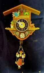 German Wall Clock Swinging Girl Includes Key