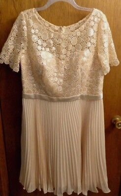(New Attitude Couture Ivory Cream Lace Sequin Top Pleated Skirt Dress Womens 16 )