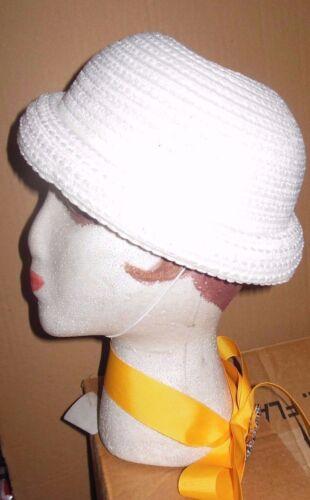 """New Lot of 12 Child sz White Crochet rolledbrim straw dressy hats """"Sunday"""" #3359"""