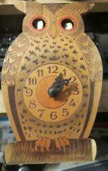 vintage wooden Owl L Schyle moving eye W. German Clock