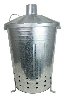 90L X LARGE INCINERATOR GALVANISED METAL GARDEN WASTE RUBBISH WOOD FIRE BIN