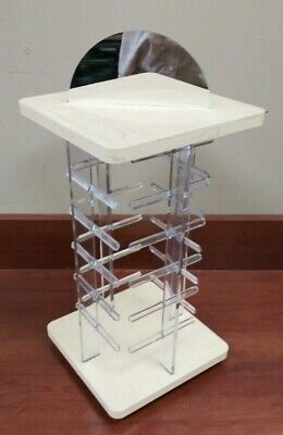 Earring Display Stand Revolving Clear Acrylic Rotating Holds 48 Earring Cards