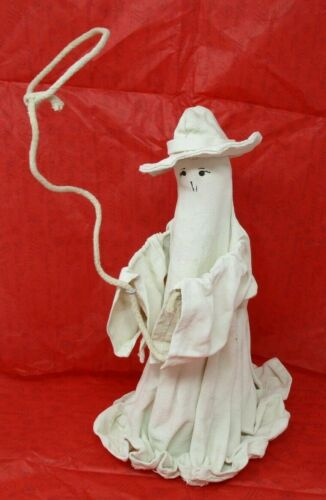 "Cowboy Ghost Hat Lasso Canvas Figurine Western Halloween 13"" Tall"