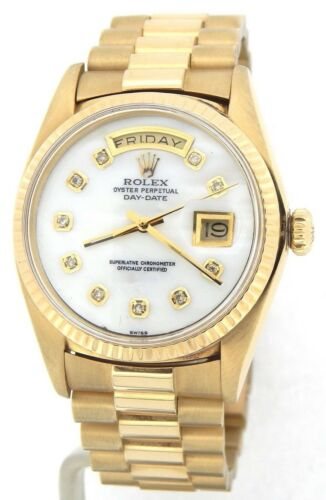 Mens Rolex Day-date President 18k Yellow Gold Watch White Mop Diamond Dial 1803