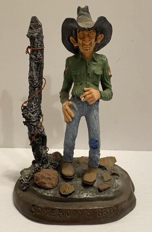 Cowboy Figurine Bill Plunkett 1988 Signed Sombodys Baby Western Rustic Decor