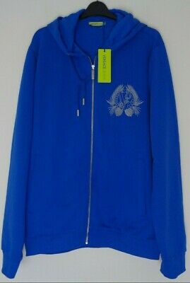 VERSACE Jeans Men's Royal Blue Silver Embroidered Zip Through Hoodie XXL