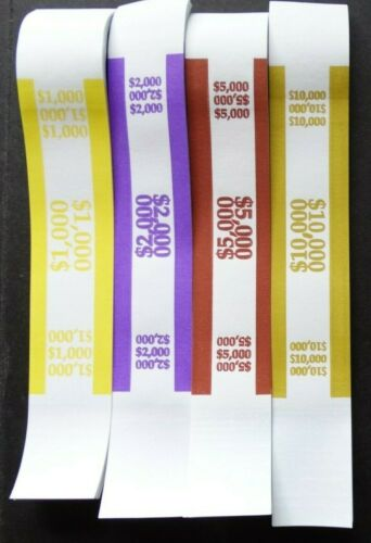 300 Mixed $1000 $2000 $5000 $10,000 Money Self-Sealing Straps Currency Bands