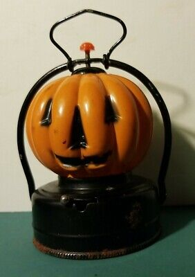 VINTAGE 1950's BATTERY OPERATED PUMPKIN JOL JACK-O-LANTERN HALLOWEEN LAMP
