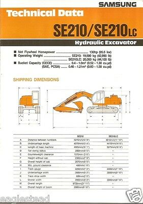 Equipment Brochure - Samsung - Se210 Lc - Hydraulic Excavator - 1991 Eb474