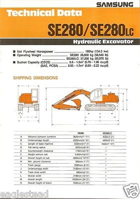 Equipment Brochure - Samsung - Se280 Lc - Hydraulic Excavator - 1991 Eb475