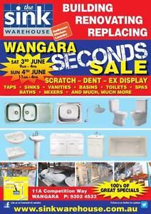 The Sink Warehouse Seconds Sale - Wangara - Sat & Sun, June 3 & 4 Wangara Wanneroo Area Preview