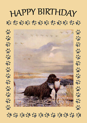 IRISH WATER SPANIEL DOG BIRTHDAY GREETINGS NOTE CARD
