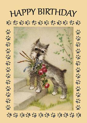 SCHNAUZER WITH FLOWER DOG BIRTHDAY GREETINGS NOTE CARD