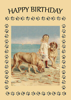 MASTIFF TWO DOGS AND GIRL GREAT BIRTHDAY GREETINGS NOTE CARD