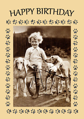 SALUKI DOGS AND SMALL CHILD DOG BIRTHDAY GREETINGS NOTE CARD