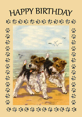 WIRE FOX TERRIER DOG TWO DOGS ON THE BEACH BIRTHDAY GREETINGS NOTE CARD