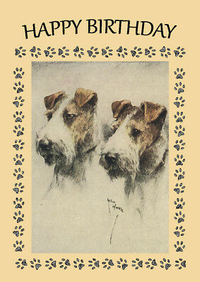 WIRE FOX TERRIER DOG BIRTHDAY GREETINGS NOTE CARD